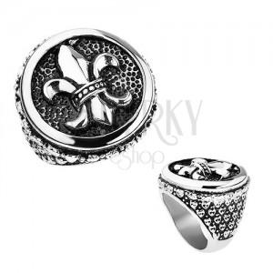 Acél gyűrű, ezüst szín, patina, Fleur de Lis a körben, szívek