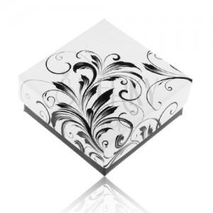 Fekete-fehér ajándékdoboz gyűrűre, virágminta