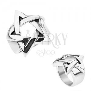 Gyűrű sebészeti acélból, ezüst szín, patináns pentagram