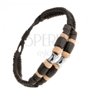 Kettős bőr karkötő, bézs és fekete karikák, acél henger, állítható