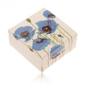 Papírdoboz gyűrűre vagy fülbevalóra, krém szín, kék pipacs
