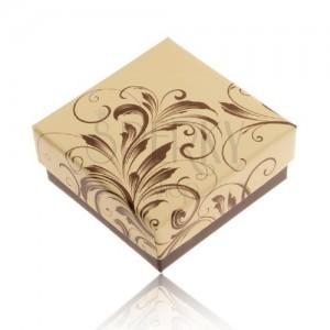 Dobozka gyűrűre és fülbevalóra, krém-barna szín, virágos minta