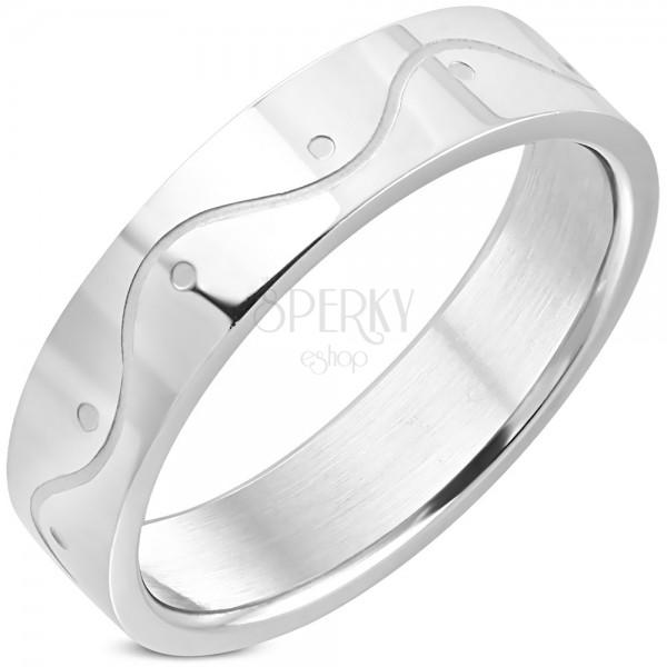 Ezüst színű sebészeti acél gyűrű - hullám, 6 mm