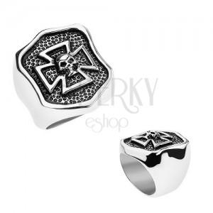 Gyűrű 316L acélból, patináns címer máltai kereszttel és koponyával