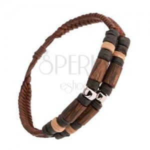 Barna bőr karkötő, fa elemek, acél hengerek, díszített karikák