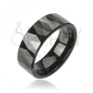 Volfrám gyűrű csiszolt, fekete rombuszok mintájával