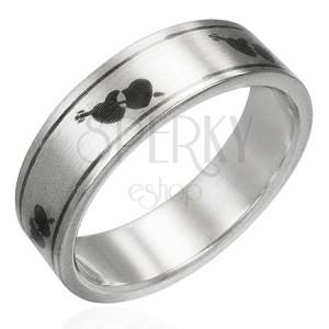 Matt acél gyűrű - nyíllal átlőtt szívek