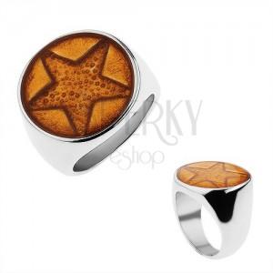 Méretes gyűrű sebészeti acélból, ötágú csillag arany színben