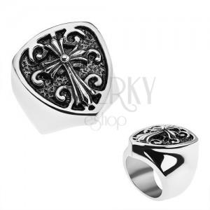 Patinált gyűrű 316L acélból, címer liliom kereszttel, minta