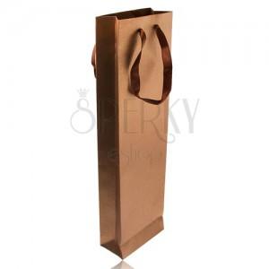Hosszúkás táska bronz színben, csillámok barna szalag