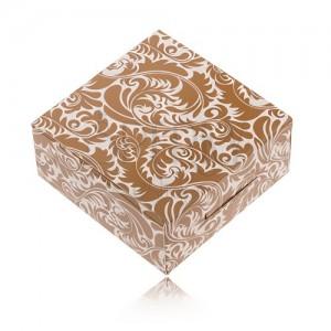 Barnásfehér papír dobozka gyűrűre és fülbevalóra, díszített minta