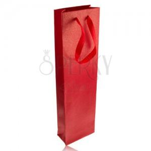 Piros hosszúkás ajándéktasak, fényes piros szalag