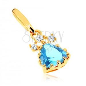 Csillogó medál 9K sárga aranyból - háromszög kék topázból, átlátszó cirkóniák