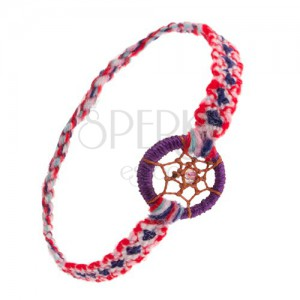 Színes karkötő puha fonálból, karika, pókháló gyöngyel, álomfogó stílus