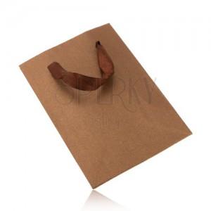 Kicsi ajándék táska csillogó bronz színben, barna szalagok
