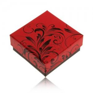 Alacsonyabb piros-fekete dobozka gyűrűre vagy fülbevalóra, minta
