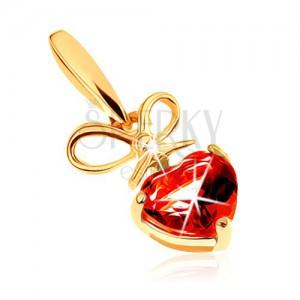 Medál 9K sárga aranyból - piros gránát szív megkötött masnival