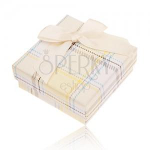 Dobozka gyűrűre, fülbevalóra és medálra, sárga kockás minta, masni