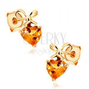 Fülbevaló 9K sárga aranyból - sárga citrin szív megkötött masnival