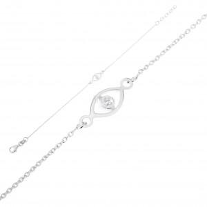 925 ezüst karkötő, szemecske kerek átlátszó cirkóniával, állítható