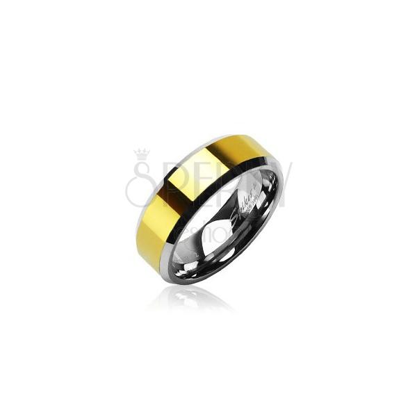 Tungsten - wolfram karikagyűrű, arany középső sáv