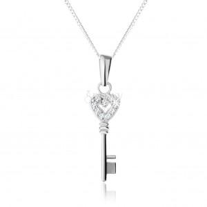 Állítható nyakék - 925 ezüst, cirkóniás díszítésű kulcs medál