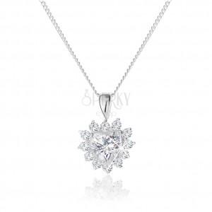 925 ezüst nyakék, csillogó cirkóniás szív medál díszített szegéllyel