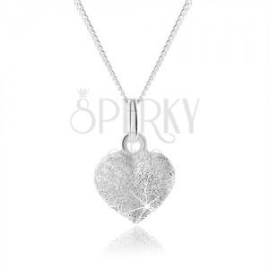 Csillogó 925 ezüst nyakék, teljes egyenletes szív, állítható
