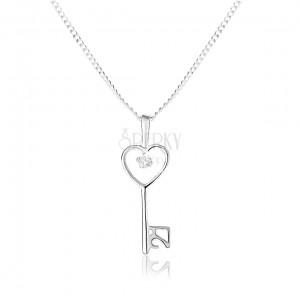 Állítható nyakék - 925 ezüst, sima fényes kulcs és enyhe lánc