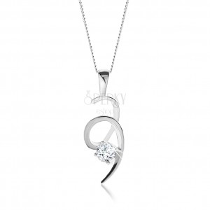 925 ezüst nyakék, csillogó spirál átlátszó kerek cirkóniás díszítéssel