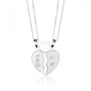 """925 ezüst nyakék, kettős medál - kettétört szív, """"YOU"""" és """"ME"""" felirat"""