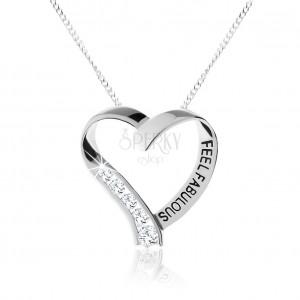 925 ezüst nyakék, csillogó szívkörvonal, átlátszó cirkóniák, felirat