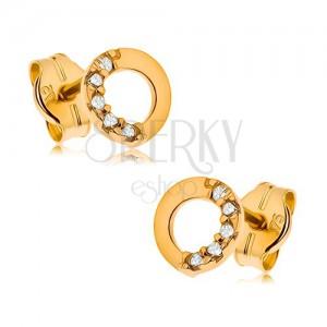 375 arany fülbevaló, körvonal átlátszó cirkóniás féllel