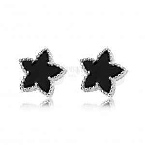 Beszúrós fülbevaló, fekete csillag recés szegéllyel, 925 ezüst