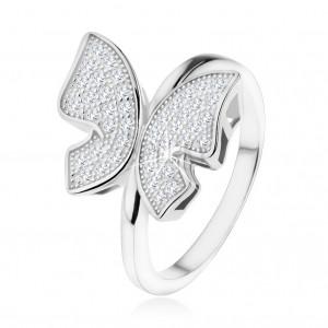 925 ezüst gyűrű, csillogó lepke átlátszó cirkóniákkal kirakva