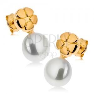 Fülbevaló 9K sárga aranyból, fényes gravírozott virág, fehér gyöngy