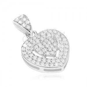 Csillogó medál 925 ezüstből, átlátszó cirkóniás szív, szív alakú bevágás