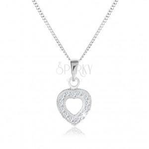 Nyakék 925 ezüstből, szabálytalan szívkörvonal átlátszó cirkóniás díszítéssel