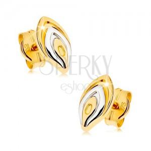 375 arany fülbevaló - kétszínű virágszirom, ródiumozott felület