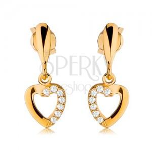 Fülbevaló 9K aranyból - szív körvonal cirkóniás féllel, szűk könnycsepp