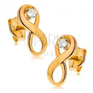 """Fülbevaló sárga 9K aranyból - """"INFINITY"""" szimbólum tiszta cirkóniával"""