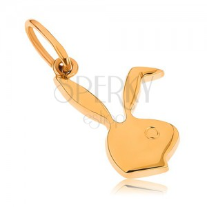 Lapos medál 9K sárga aranyból - Playboy nyuszi fej
