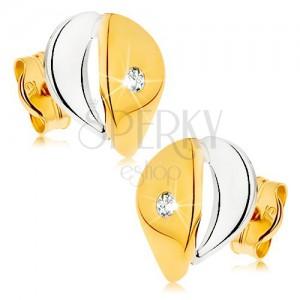 Fülbevaló 9K aranyból - szélesebb könnycsepp átlátszó cirkóniával, kétszínű kivitelezés