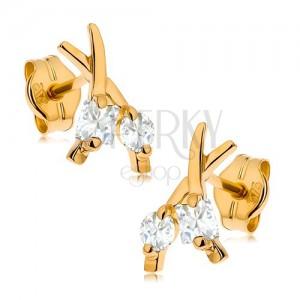 Bedugós fülbevaló 9K sárga aranyból - keresztezett vonalak, kerek és négyzetes cirkónia