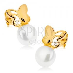 Fülbevaló sárga 9K aranyból - ragyogó lepke tiszta cirkóniával, fehér gyöngy