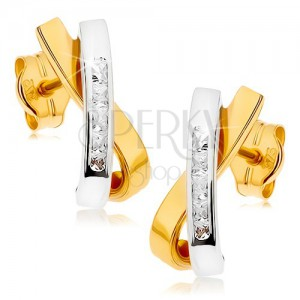 Ródiumozott fülbevaló 9K aranyból - két hajlított vonal, átlátszó cirkóniák