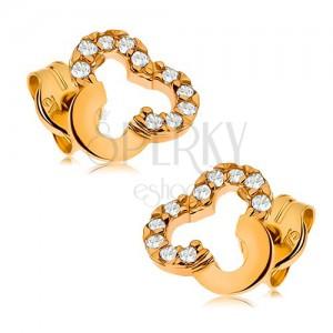 Bedugós fülbevaló sárga 9K aranyból - háromlevél körvonal tiszta cirkóniákkal