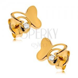 Arany 375 fülbevaló - fényes pillangó szárnyán kivágással, kerek tiszta cirkónia