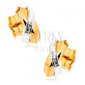Kétszínű fülbevaló 9K aranyból - keresztezett ívek, sáv apró cirkóniákból