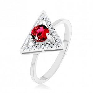 Ezüst 925 gyűrű - háromszög cirkónia körvonala, kerek piros cirkónia